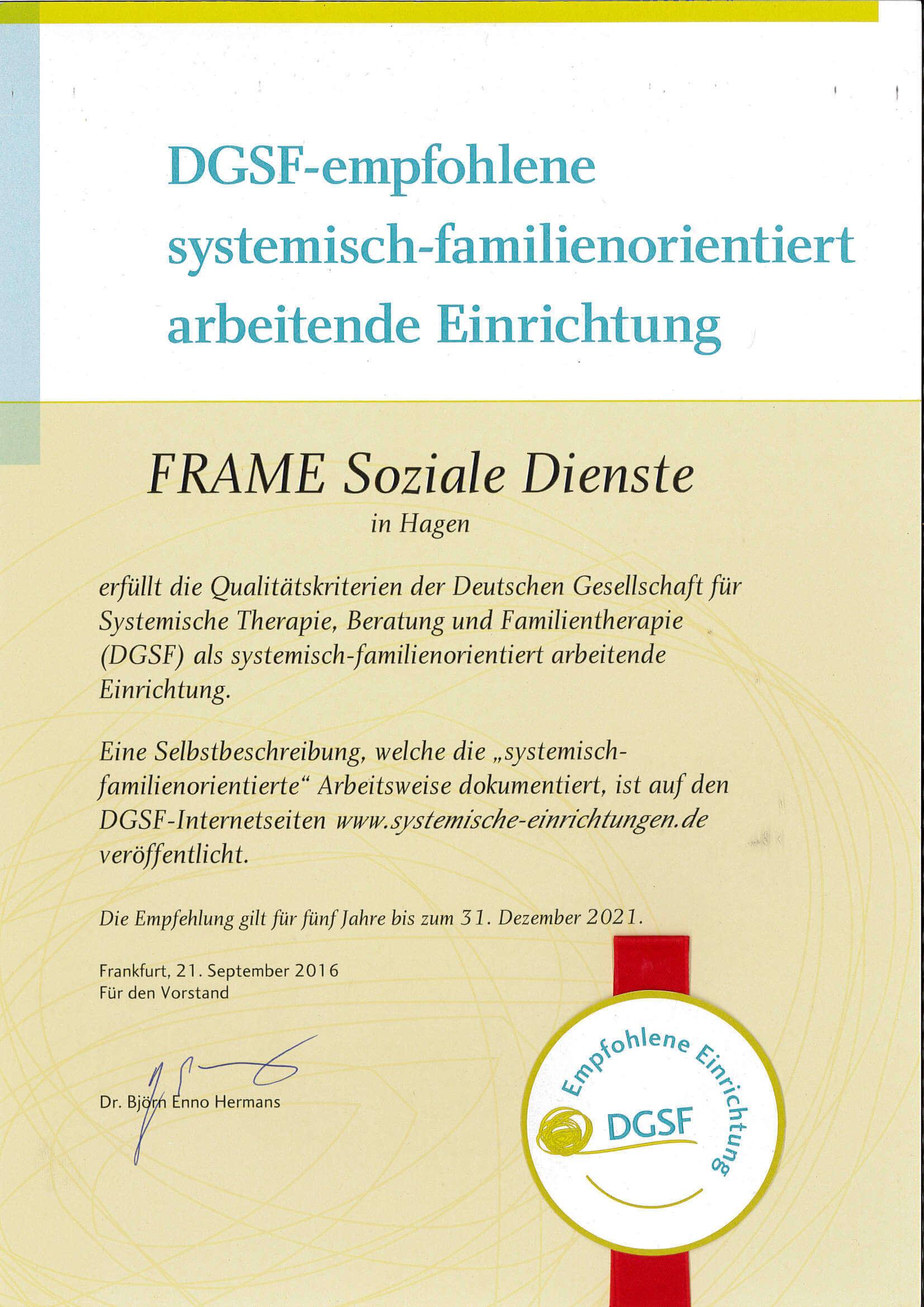 Zertifikat des DGSF